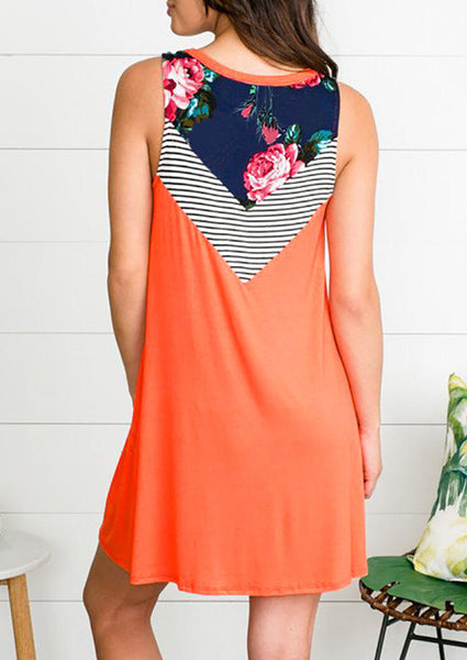 Floral Striped Casual Dress - Brilliant Orange