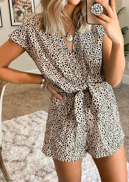 Leopard Printed Hollow Out Romper without Necklace