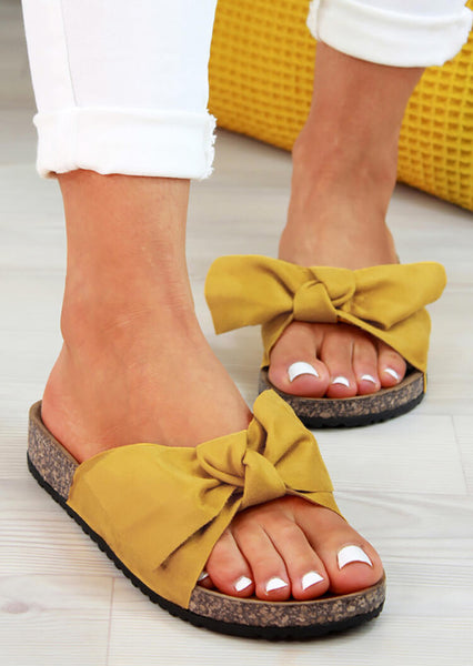 Summer Solid Slip On Bowknot Slippers- Yellow
