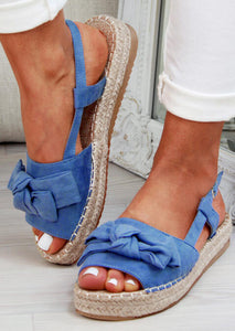 Solid Bowknot Peep Toe Sandals - Sky Blue