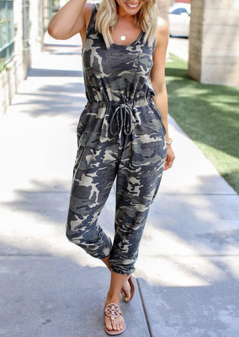 Camouflage Printed Sleeveless Jumpsuit without Necklace - Camouflage