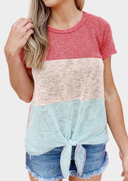 Color Block O-Neck Tie Blouse - Red