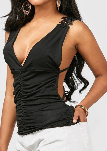 Solid Ruched Lace Splicing Open Back Tank - Black
