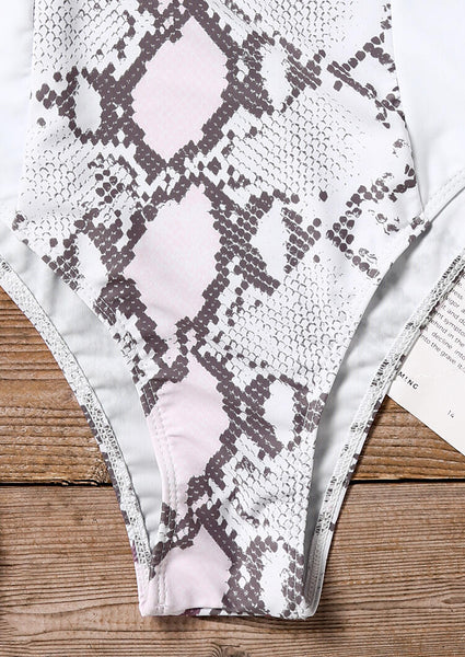 Snake Skin Printed One-Piece Swimsuit without Necklace