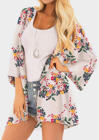 Floral Three Quarter Sleeve Cardigan without Necklace - White