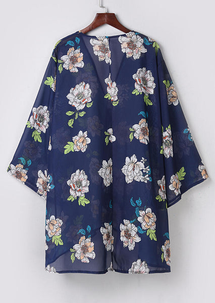 Floral Long Sleeve Cardigan without Necklace - Deep Blue