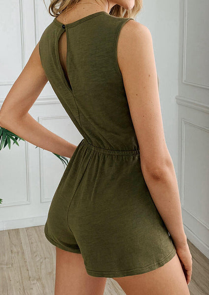 Solid Hollow Out Drawstring Pocket Romper without Necklace - Army Green