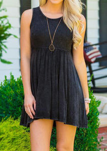 Solid Ruffled Mini Dress without Necklace - Black