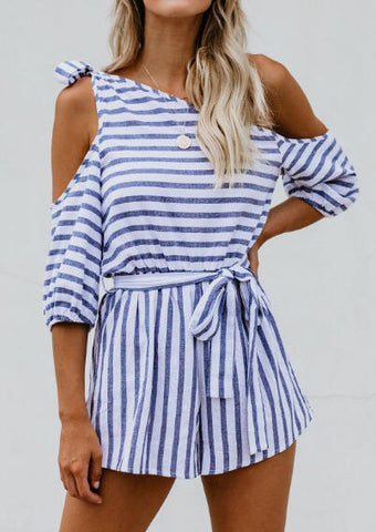 Striped One Shoulder Tie Romper without Necklace