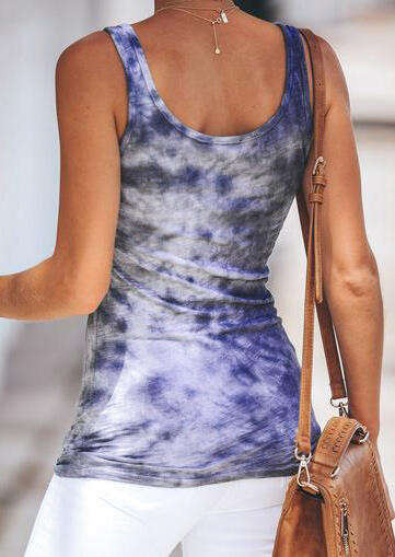Tie Dye Tank without Necklace - Gray