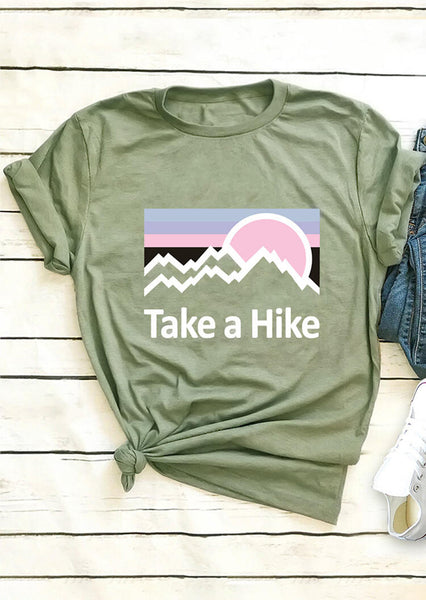 Take A Hike Mountain T-Shirt Tee - Plum