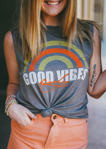 Good Vibes Only Rainbow Tank - Gray