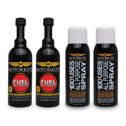 (2) 16 oz. Fuel Optimizer, (2) 12 oz. All Purpose Spray, , - MotorKote.com
