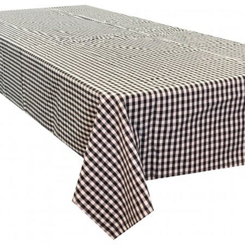 Gingham Check Square Tablecloth 150x150cm - Black & White  Homewares nz