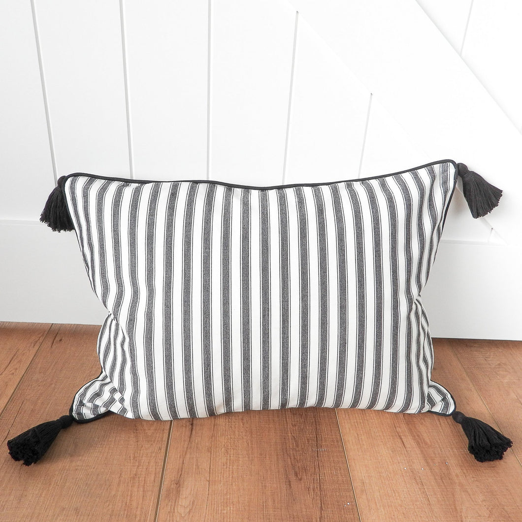 Attic Tassel Cushion 40x55cm - Black & White Stripe Homewares nz