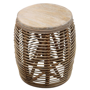 Bahamas Rattan Round Cage Side Table  Furniture nz