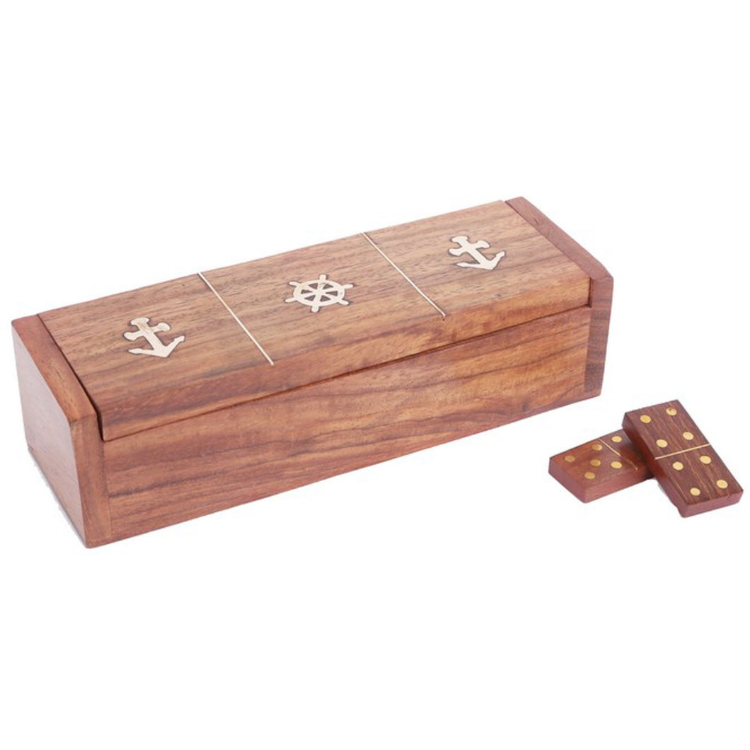 Wooden Dominoes In Box With Walnut Finish