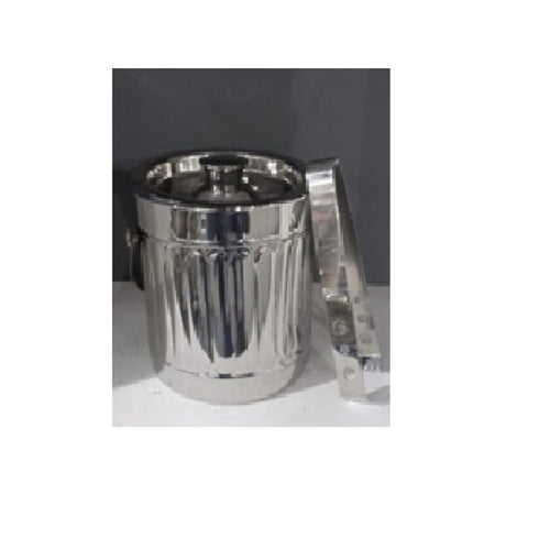 Pressed Pillar Stainless Steel Ice Bucket With Tongs 16cm