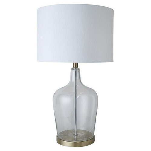 Palm Beach Glass Brass Lamp & White Shade 66cm Homewares nz