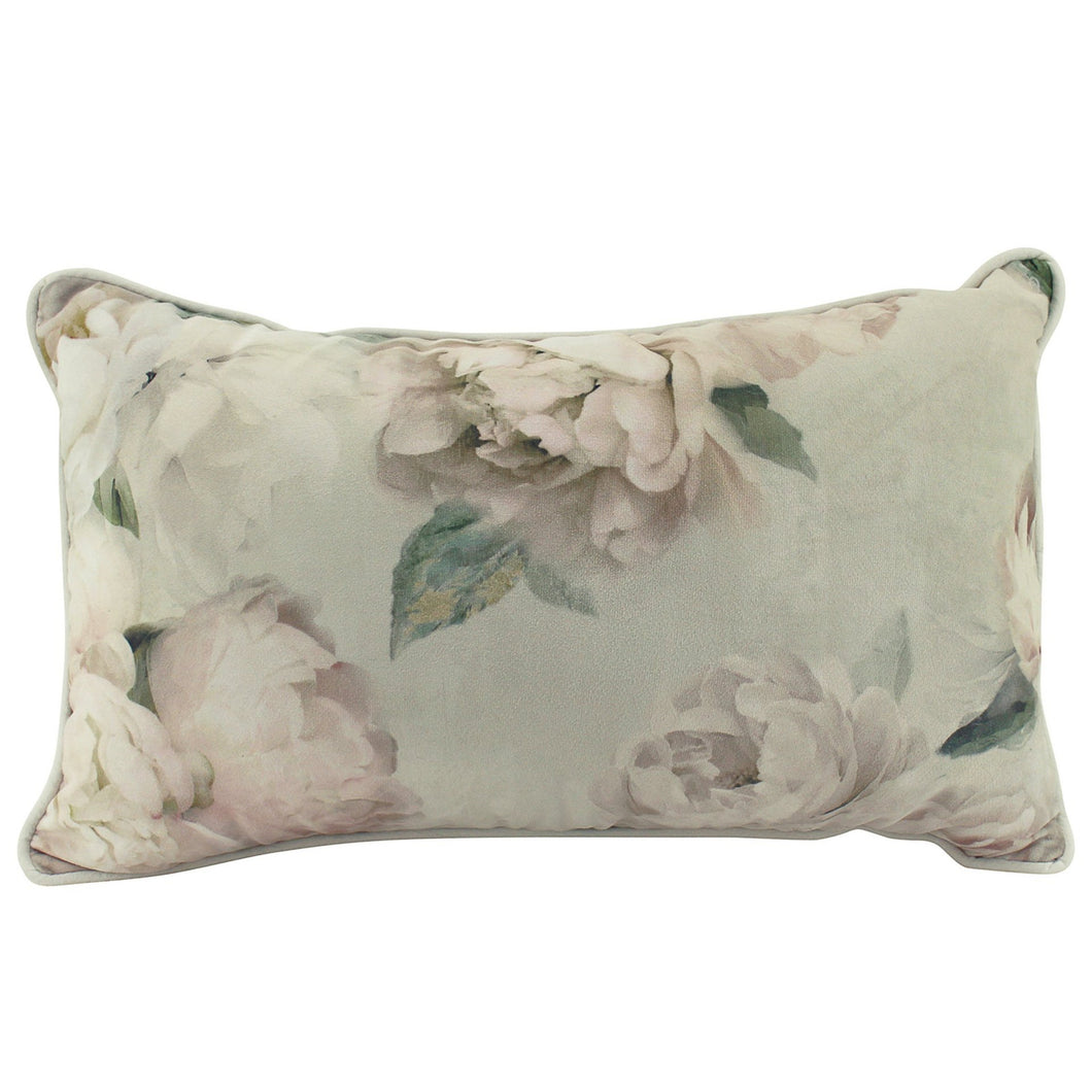 Velvet Peony Cushion Rectangle 30x50cm  Homewares nz