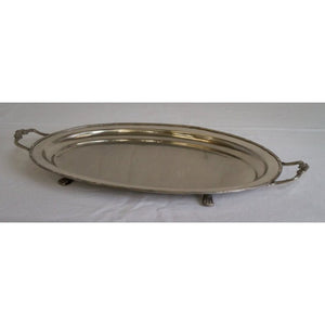 Pewter Oval Floral Handled Tray Homewares nz