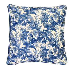 Cockatoo Damask Cushion 50x50cm - Blue