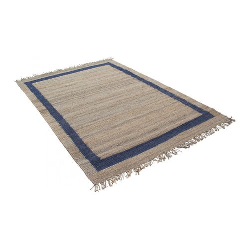 Navy Border Rug 200X300cm  - Large  Homewares nz