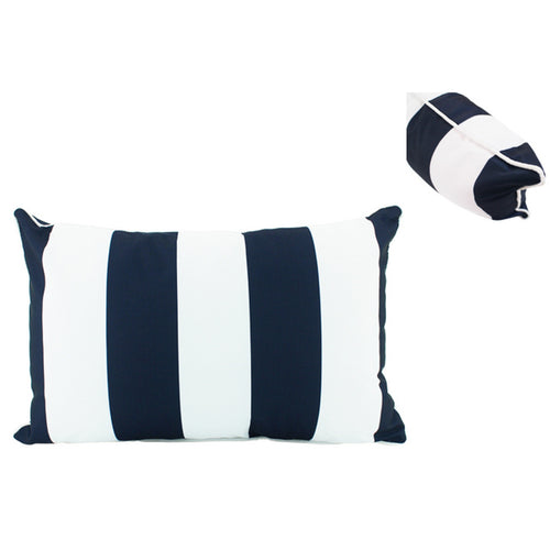 Navy & White Stripe Outdoor Lumbar Cushion 30x50cm Homewares nz