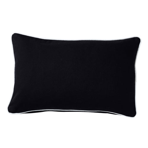 Black Cushion With White Piping 30x50cm