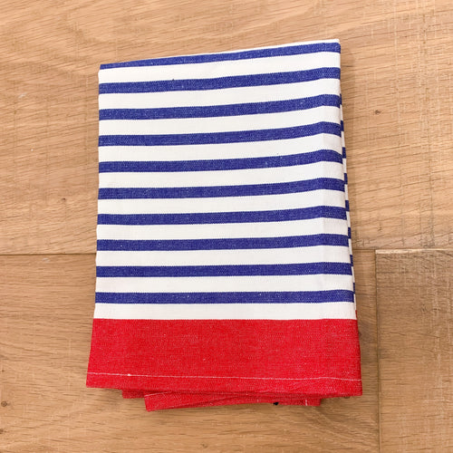 New York Stripe Cotton Tea Towel 50x70cm - Blue & Red