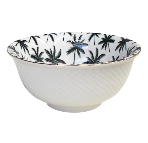 Palm Bowl With Gold Trim  Homewares nz