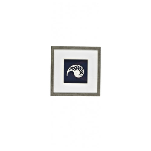 Navy & White Spiral Shell In Natural Frame 35cm