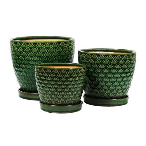 Emerald Green Patterned Pot & Saucer 20cm - Large