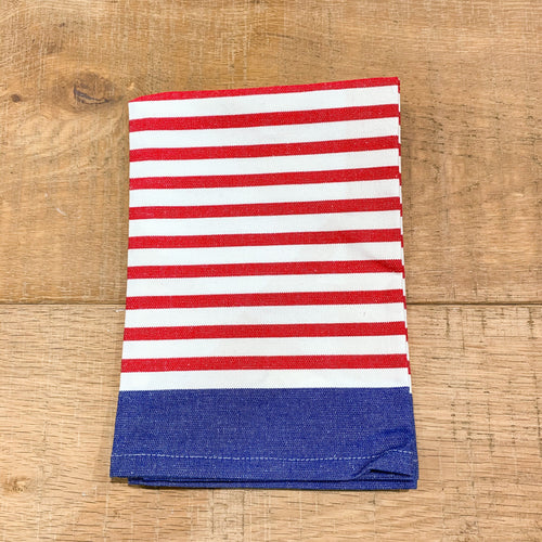 New York Stripe Cotton Tea Towel 50x70cm - Red & Blue