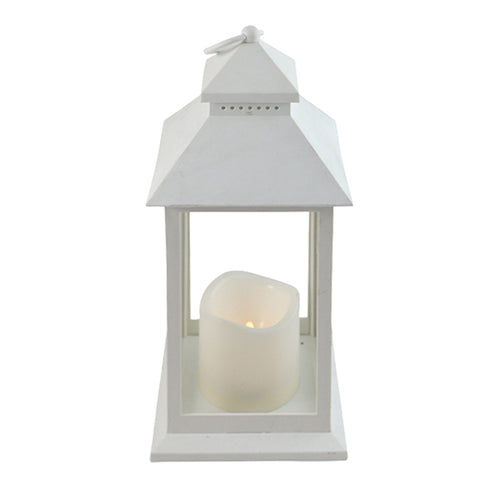 Antique White Lantern 30cm With Flameless Candle  Homewares nz