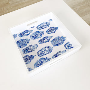 Square Wooden Ginger Jars Tray 30cm - Blue & White Homewares nz