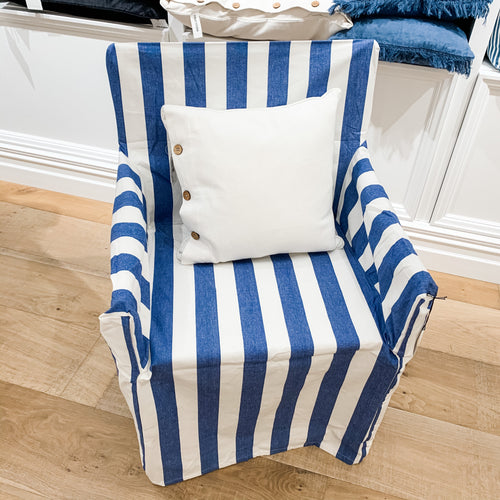 Kerala Directors Chair Cover - Blue & White Homewares nz
