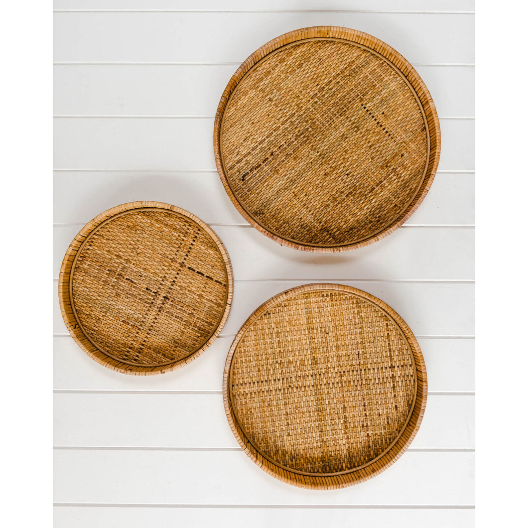 Natural Piper Round Tray 35cm Homewares nz
