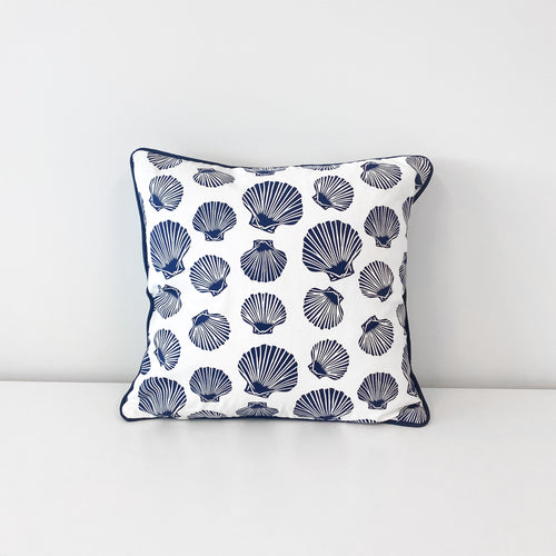 Shell Scatter Cushion 40x40cm - White & Navy Homewares nz