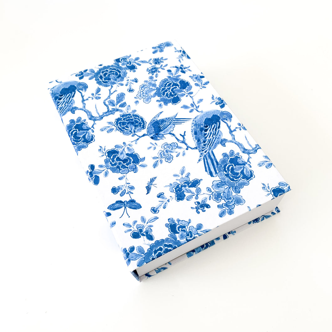 The French Villa Paisley Parrots Notepad - Blue & White