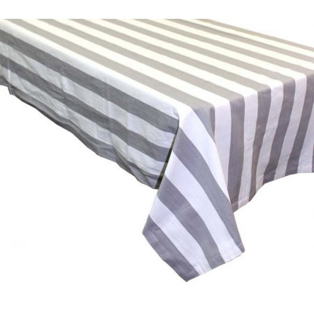Amalfi Square Tablecloth 150x150cm - Grey & White Stripe Homewares nz