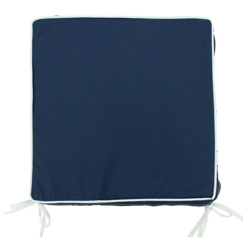 Navy Outdoor Chair Pad With White Piping 42x42cm Homewares nz