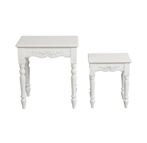 Provincial Set Of 2 Nest Tables - White  Furniture nz