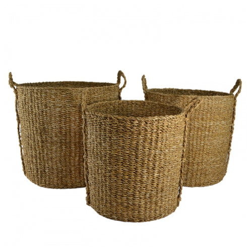 Tall Round Natural Seagrass Basket With Handles 40cm - Small
