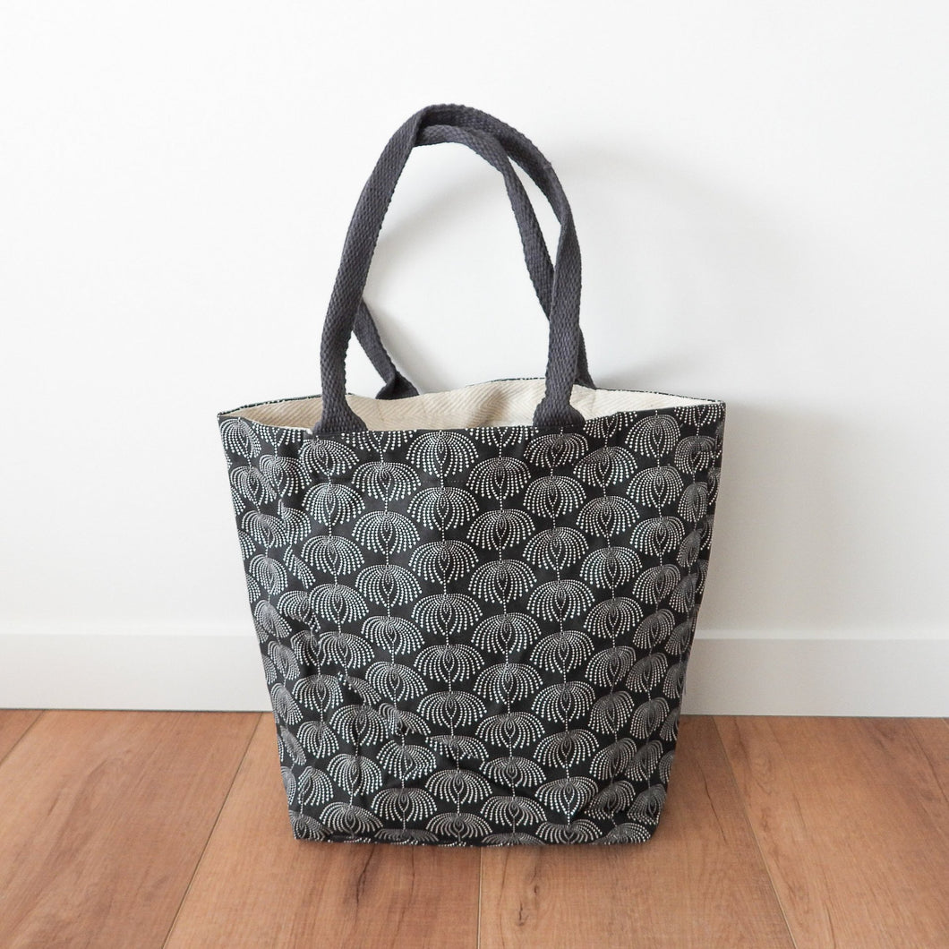 Dew Drops Canvas Tote Bag With Purse - Black  Homewares nz