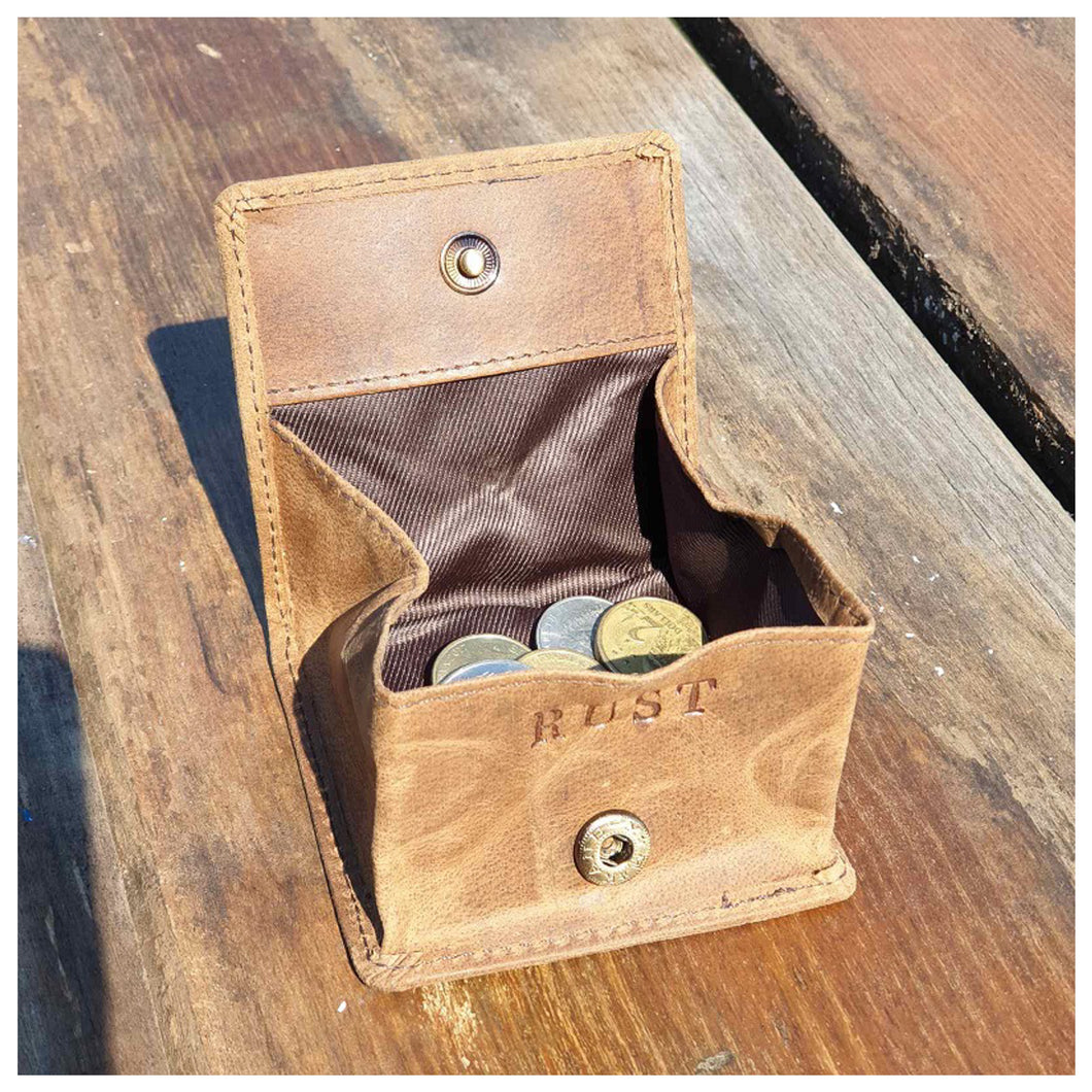 Compact Buffalo Leather Coin Pouch - Brown Homewares nz
