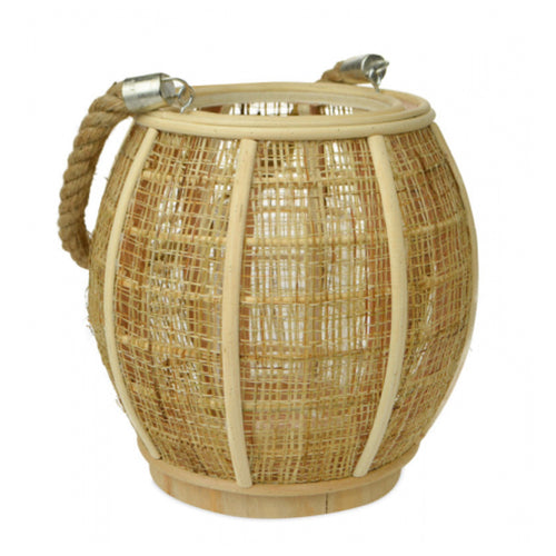 Natural Wood & Jute Lantern With Rope 24cm - Medium