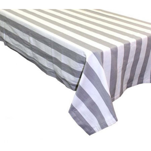 Amalfi Large Rectangle Tablecloth 150x320cm - Grey & White Stripe