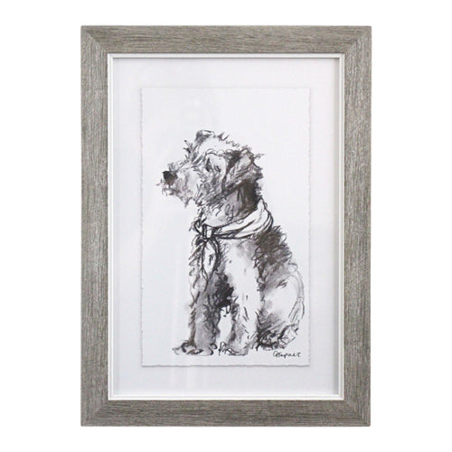 Puppy Drawing In Frame - Fox Terrier  Homewares nz