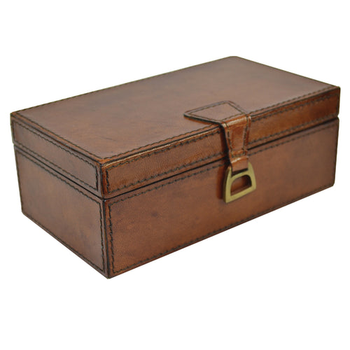 Leather Box With Stirrups 20cm Standalone - Tan Homewares nz